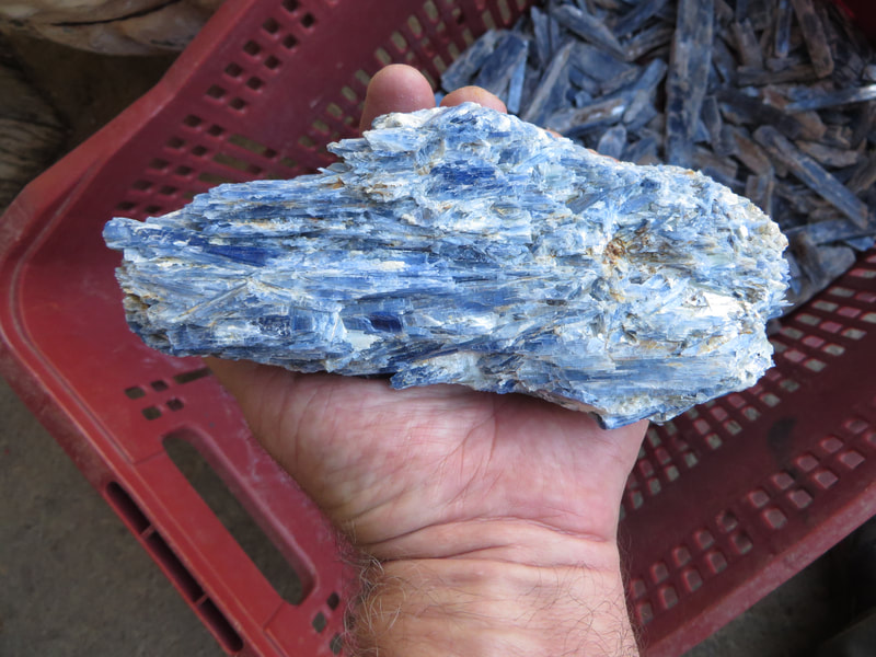 Large Natural Blue Kyanite Cluster with Quartz